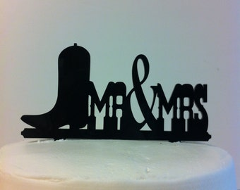 Mr & Mrs Boot Rustic Country Western Font Wedding Cake Topper