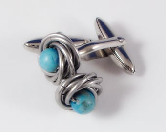 Turquoise Stainless Steel Cufflinks
