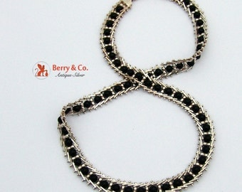 Ornate Sterling Silver Onyx Bead Necklace