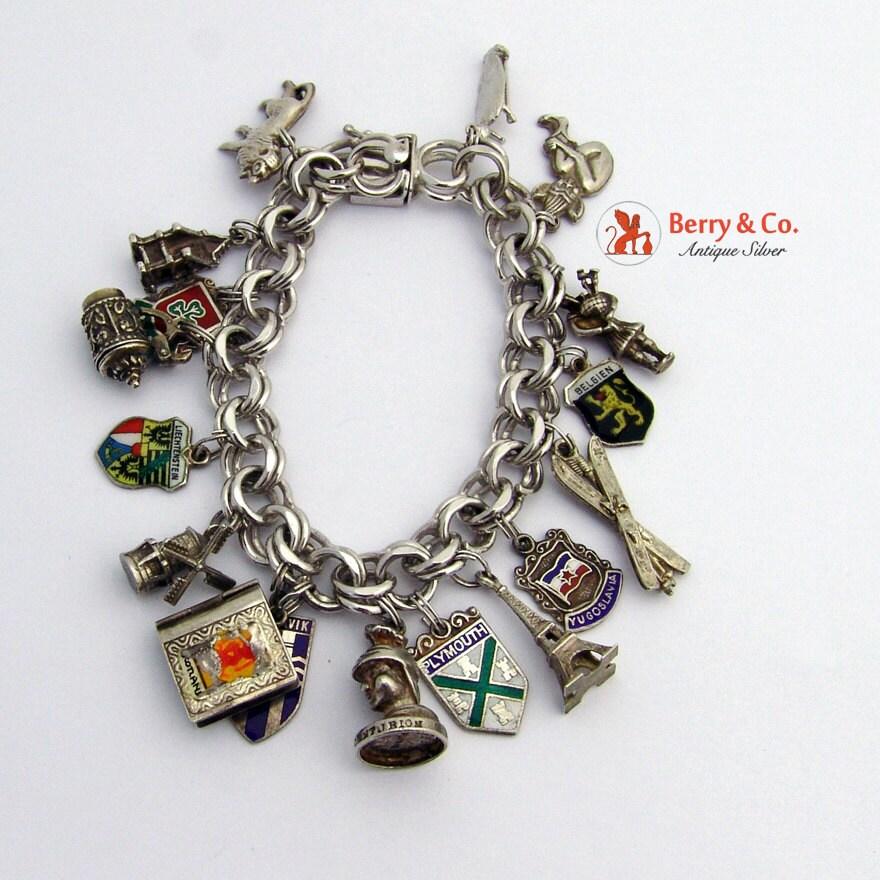 vintage sterling silver charm bracelet 17 charms by berrysgems