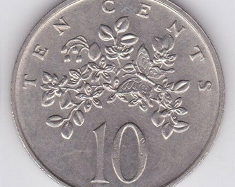 Jamaica vintage coin - flowers with butterfly - 10 cent coin - circulated - coin supply