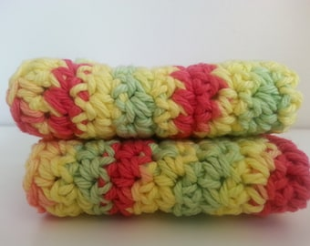 Eco Friendly Crochet face cloth Coral Lime and Yellow wash cloths
