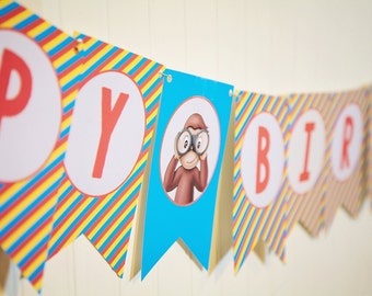 Curious George Banner  // Curious George Birthday Banner // Monkey Party // Curious George // DIY Printables