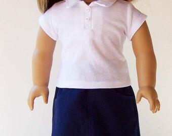 School Uniform for 18 inch dolls - Navy Twill Skirt Set