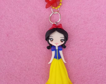 Necklace Snow White polymer clay, fimo