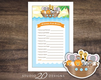Instant Download Noah's Ark Wishes for Baby Shower Game, Printable Noahs Ark Baby Shower Game, Noahs Ark Theme Wish for Baby Game 63A