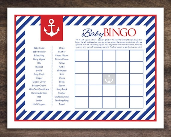 Instant Download Anchor Baby Shower Bingo Cards by ...