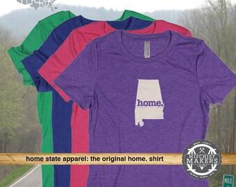 Alabama Home. T-shirt- Women's red green purple pink royal