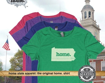 Pennsylvania Home. tshirt- Womens Red Green Royal Pink Purple