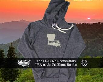 Tri Blend Pull Over Hoodie Lousiana Home Sweatshirt