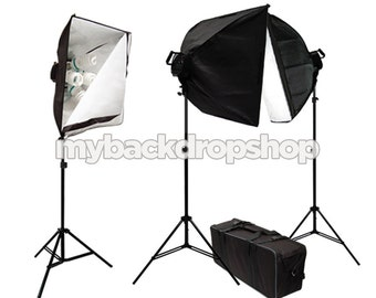 3000W Photo Studio Lighting Softbox Video Light Kit and Carry Case - Photography Studio Equipment