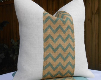Chevron burlap pillow cover in aqua blue, off white and natural burlap 18x18
