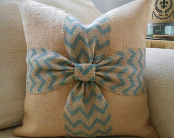 Burlap bow pillow cover in aqua blue chevron and natural burlap 18x18