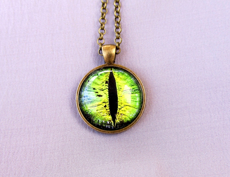 cat eye necklace pendant green cat eye by merrickmillerstudio