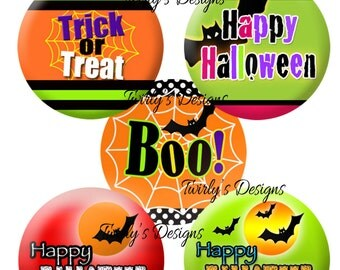 """INSTANT DOWNLOAD Halloween 1"""" bottle cap images - 4 X 6 Digital Collage Sheet  Cupcake topper Hair bow center Craft Supplies Pendant #2"""