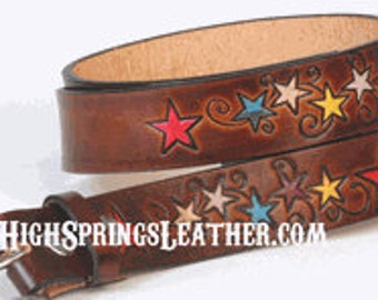 Star Leather Name Belt - Available in many colors