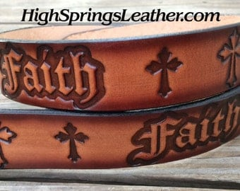 Faith leather name belt Available in brown or gray black