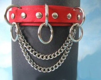 Choker Collar Leather Choker with Chain, SPikes & Rings 05