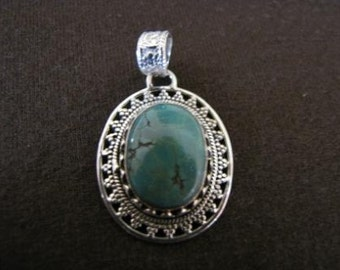 Sterling Silver Oval Turquoise Pendant