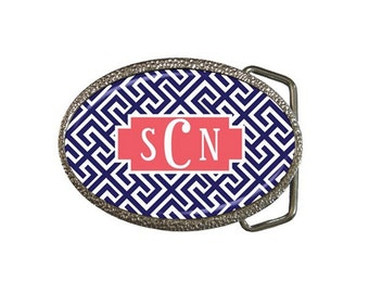 SALE-Monogrammed Belt Buckle- Mix and Match Design!