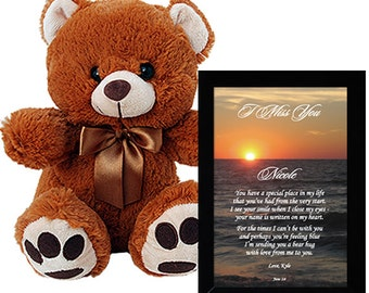 I Miss You Gift - Sweet Personalized Poem in Frame Plus Teddy Bear Makes a Cute Gift (90-049)