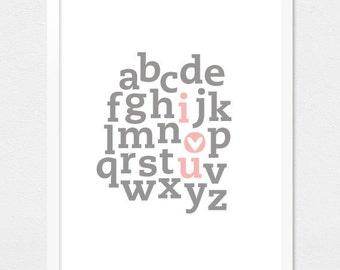 I Love You - Alphabet Print - pink