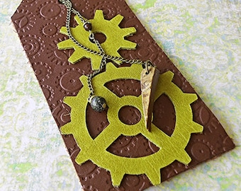 Tribal Steampunk Bookmark: Leather Gear