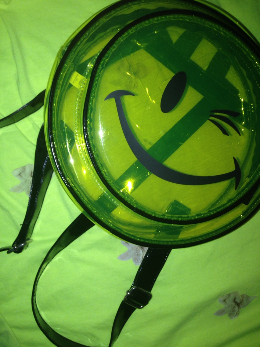 Super Cool Clear Green Smiley Backpack : by TiredGirls on Etsy