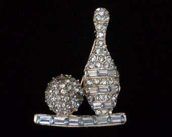 Let's Go Bowling - Vintage Pin with Pale Blue Rhinestones