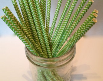 Light Green and White Chevron Paper Straws