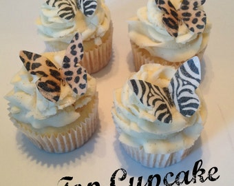 Leopard and Zebra Print Butterfly Cupcake Toppers -12
