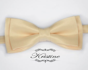 Men Cream Satin Bow Tie - Groom Bow Tie - Men Bow Tie- Wedding Bow Tie- Special occasion necktie groomsmen gift