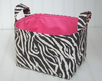 Fabric Bin/Basket - zebra and pink
