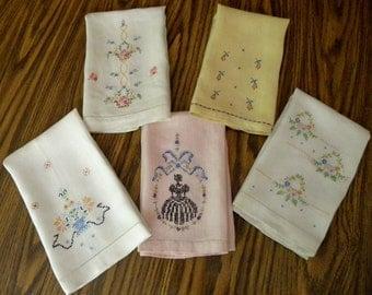 Vintage Hand embroidered Linen Tea Towels