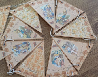 Alice in Wonderland Paper Bunting - Printed on 225gsm Card - 2m long - Design 2