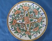 Vintage Mexican Floral Pottery Plate Marked Home Decor Pottery Collectibles Stoneware Collectible