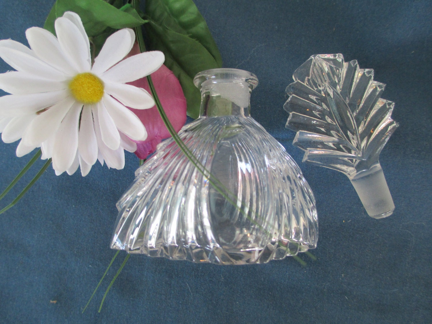 Vintage waterfall design clear perfume cologne bottle with for Waterfall design etsy