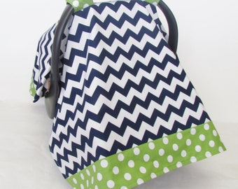 Infant Car Seat Baby Canopy, Navy and White Chevron and Green Polka Dot