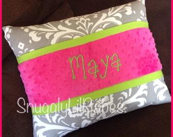 Grey damask, lime, fuchsia minky dot personalized pillow