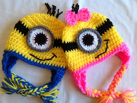 Crochet Despicable Me Hat Blue or Pink Minion