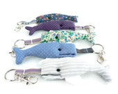 Key chain whale, fabric  and machine embroidery for keys