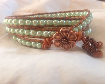 Handmade leather wrap bracelet with glass pearls