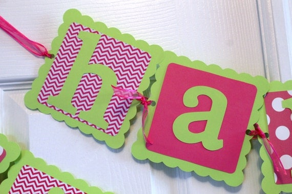 pink and lime green happy birthday banner by