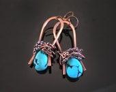 Omega Copper Wrap Earrings with Gemstone Briolette