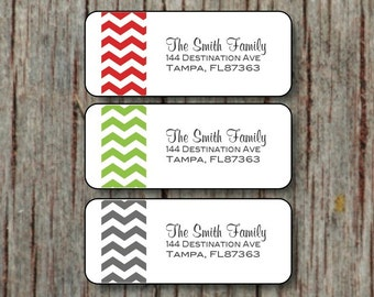 Christmas Return Address Labels - Custom Holiday Label Stickers - 60 Personalized Red Green Grey Chevron Return Address Labels - 003