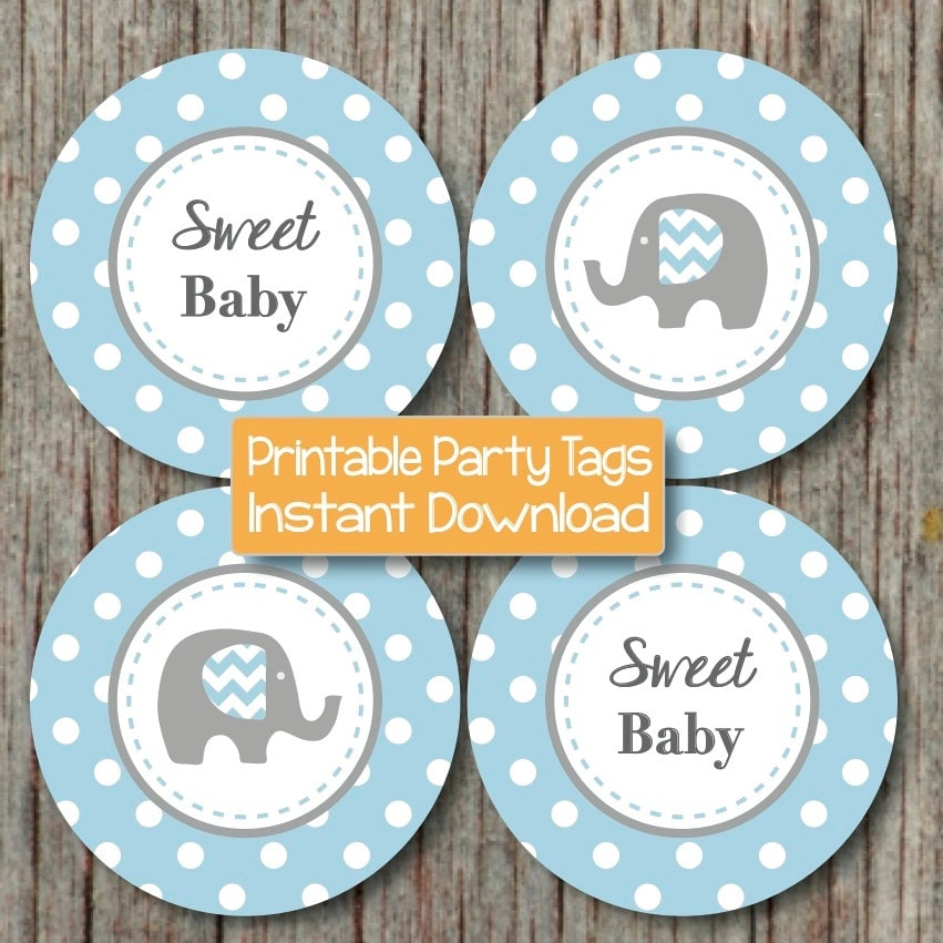 Baby Shower Decorations Elephant Cupcake Toppers Instant