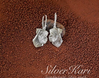 Giant Schnauzer, earrings in sterling silver