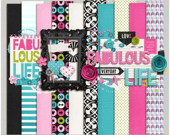 Fabulous Life Kit - Papers & Elements for Digital Scrapbooking