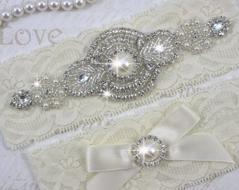 SALE - PRISCILLA - Pearl Garter Set, Wedding Stretch Lace Garter, Rhinestone Crystal Bridal Garters