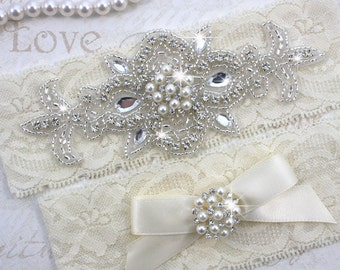 MADRID II - Pearl Wedding Garter Set, Ivory Lace Garter, Rhinestone Crystal Bridal Garters